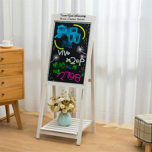 Staande LED Board Sig, Verlichte Ezel met markeerstift Wood Decor for School Wedding Bar Restaurant (Color : White, Size : 42.5x42x118cm)