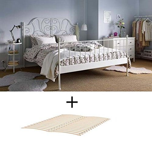 Ikea Full Size Metal Country Style Bed Frame with Slatted Base , White