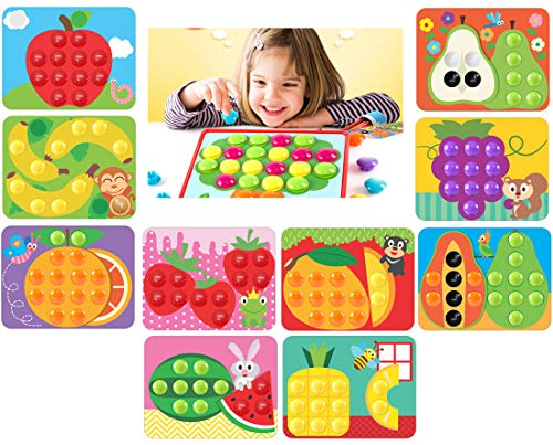 GoAppuGo Plastic Activity Toys with 10 Fruits with 50 Jumbo Buttons (Multicolour)