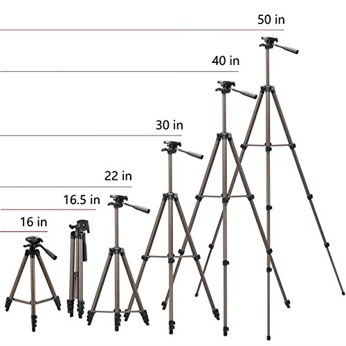 Tripod for iPad and iPhone,50 inches Lightweight Aluminum Camera Tripod + 2 in 1 Holder Mount Fits Smartphone(Width 2