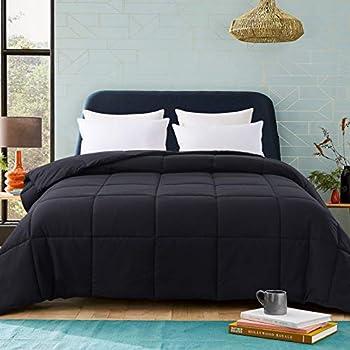Cosybay King Size Comforter Black Down Alternative Bed Comforter Lightweight Duvet Insert with Corner Tabs,King Size 102×90 Inch