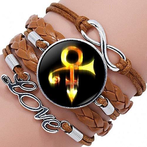 Leder-Punk-Armband,Golden Prince Symbol Multi Layer Geflochtenes Seil Wrap Armreifen Stulpe Einstellbare Personalisierte Armbänder Unisex Mann Frauen Charme Bracelets Fashion Gothic Schmuck Armband