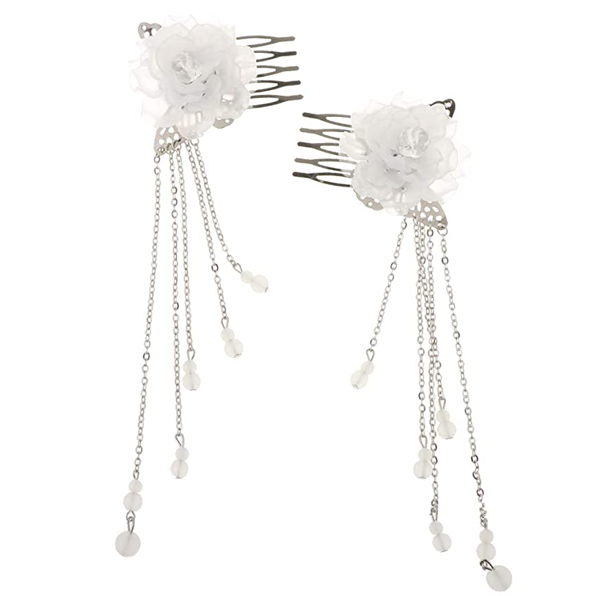 引っ張る雷雨レスリングBaoblaze 2本 古代中国 ヘアコーム 髪の櫛 クリップ レディース 花ビーズ タッセル 演劇 コスプレ 写真