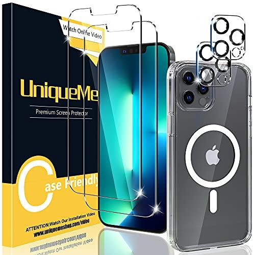 UniqueMe [1+2+2] 1 Stück Magnetisch Hülle für iPhone 13 pro max (6.7 Zoll), 2 Stück Schutzfolie & 2 Stück Kamera Panzerglas,[Kratzfest][Anti-Blase] Klar Glas Bildschirmschutz