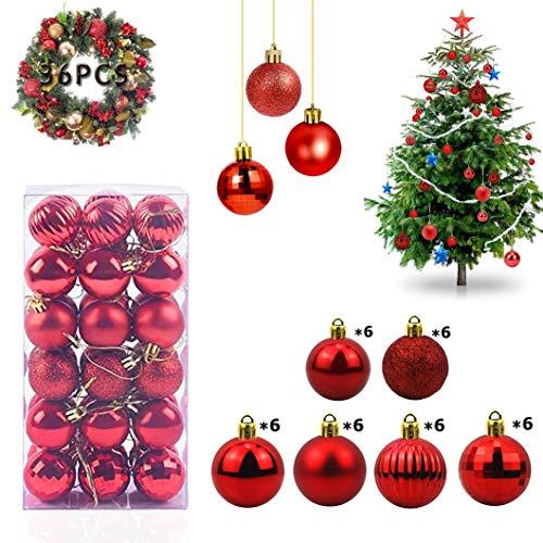 WELLXUNK Bolas de Navidad, 36 Bolas de Decoración Navideña, Bolas de Adornos Navideños BrillantesNavideño para Colgar en la Pared Adornos (Rojo)