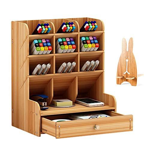 Organiseur de bureau en bois grande capacité, boîte de rangement de bureau pour papeterie à tiroir multifonctionnel porte-stylo de rangement pour la maison, le bureau et l'école (Cerisier)