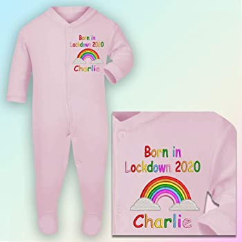 Personalised Born in Lockdown Embroidered Romper in Baby Pink Other See Thread Chart Thread 3-6 Months