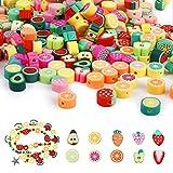 100 Pieza de Cuentas de Frutas, Cuentas de Arcilla Polimérica Cuentas de Frutas Mixtas Hechas a Mano para Hacer Joyas Pulsera Niños Accesorios de Bricolaje (Patrón Aleatorio)