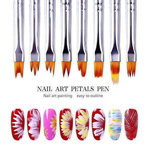 Juego de 8 pinceles 3D para arte de uñas, pinceles de pintura acrílica degradados, para manualidades, diseño de flores y pétalos