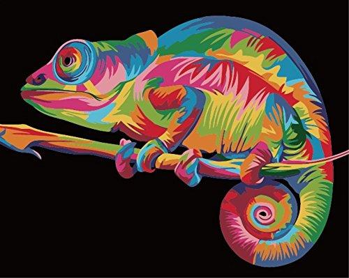 WOWDECOR Kit de pintura por números para adultos y niños, pintura al óleo – lagarto colorido 16 x 20 pulgadas (Z13, sin marco)