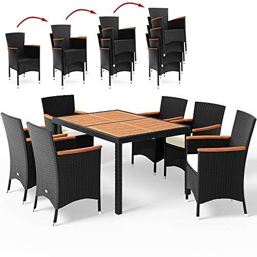 Poly Rattan Sitzgruppe Schwarz 7cm Dicke Auflagen 6 Stapelbare Stühle Tisch und Armlehnen aus Holz Gartenmöbel Set