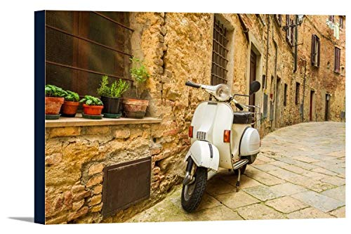 Old Vespa Scooter on a Cobblestone Street in Italy 9023736 (36x24 Gallery Wrapped Stretched Canvas)