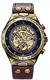 Luxury Automatic Mechanical Men's Leather Belt Fashion Bronze Steel Waterproof Skeleton Watch (Brown)