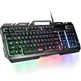 Gaming Keyboard, RATEL All-Metal Panel with Mechanical Feeling Colorful Rainbow LED Backlit USB Computer Wired Keyboard for PC/MAC/Desktop Pro Gamer (Black & RGB LED Backlit)