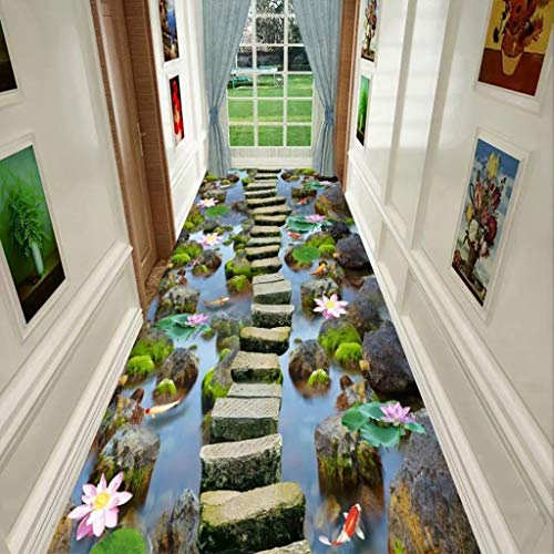 LQ Küche Teppiche Blended Wohnzimmer Couchtisch Teppich, Maschinenwaschbar Hotelteppich, 3D Haushaltsstreifenteppich, rutschfeste Verschleißfeste Schlafzimmer Bettvorleger