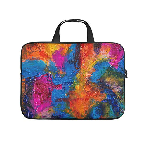 Oil Graffiti on Canvas Texture Laptop Bag Scratch Resistant Laptop Briefcase Design Notebook Bag for University Work Business