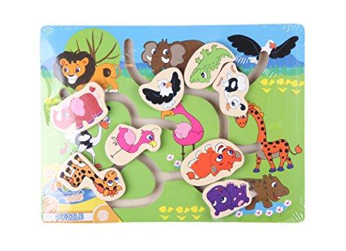 Générique Puzzle en Bois avec Animaux coulissants - bébé - Bleu