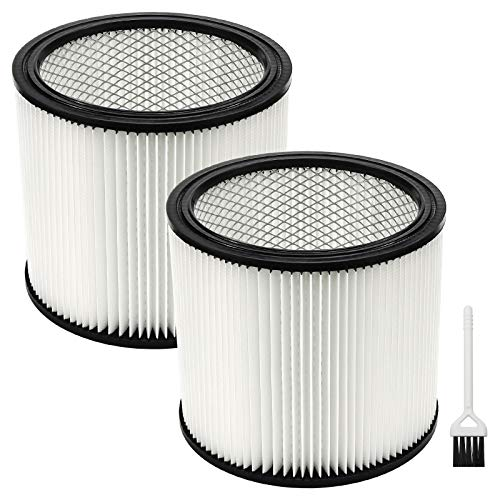 90304 Filter Replacement ,Cartridge Filter for Sho.p Vac 90350 90333 9030400, Fit most Wet/Dry Vacuum Cleaners 5 Gallon and above -2 Pack with 1 Cleaning Brush