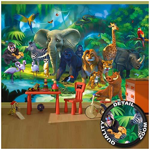 GREAT ART® Fototapete – Dschungel – Kinderzimmer Tiere Wandbild Dekoration Jungle Animales Zoo Natur Safari Adventure Tiger Löwe Elefant AFFE Wandtapete Fotoposter Wanddeko (336 x 236 cm)