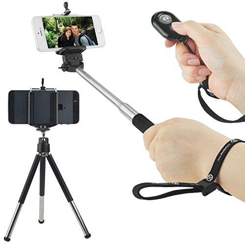Wireless Universale Selfie Kit compreso Selfie Stick, Treppiede e Bluetooth Remote Control. Controllo vivavoce di otturatore della macchina fotografica da una distanza di fino a 10 metri. Per iOS e smartphone Android. (Selfie Stick + Treppiede + Bluetooth Remote Control, Nero)