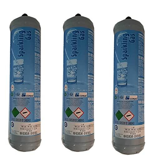 3 bombonas de CO2 desechables, para carbonatadores y refrigeradores, casquillo M11 x 1, E290, uso alimentario