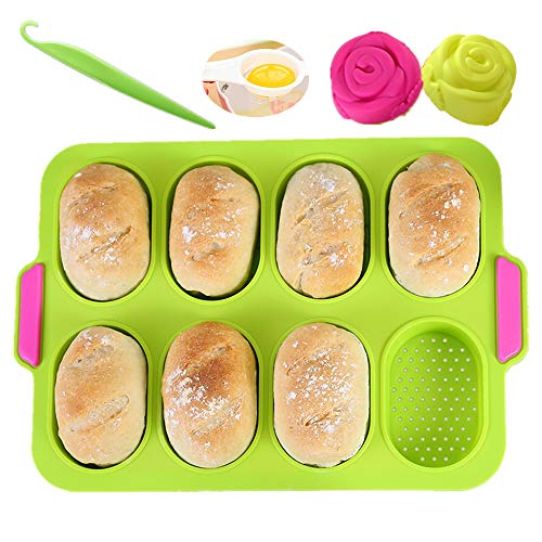 KeepingcooX® Mini-Baguette-Backblech, 34 x 24 cm, Antihaft-Lochblech | Brot Crisping Tray, Laib Backform, French-Bread mit köstlichen knusprigen Krusten, mit 2 Rosenformen, Separator von Eiweiß