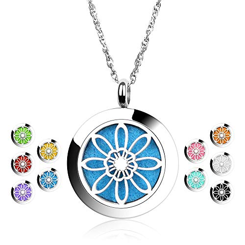 Maromalife Diffuser Necklace Aromatherapy Essential Oil Diffuser Necklace Stainless Steel Flower Locket Pendant with 10 Colors Refill Pads
