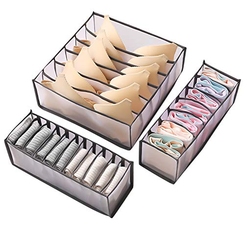 Women Underwear Drawer Organizer - 3PCS Foldable Clothes Organizers for Bedroom Drawer Storage Box Drawer Divider Closet Storage Organizer for Underwear Bras Socks Stockings Scarves Ties