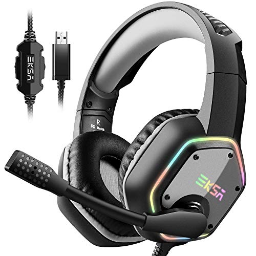 EKSA USB Gaming Headset, 7.1 Surround Stereo Sound, PS4 PC USB Gaming...