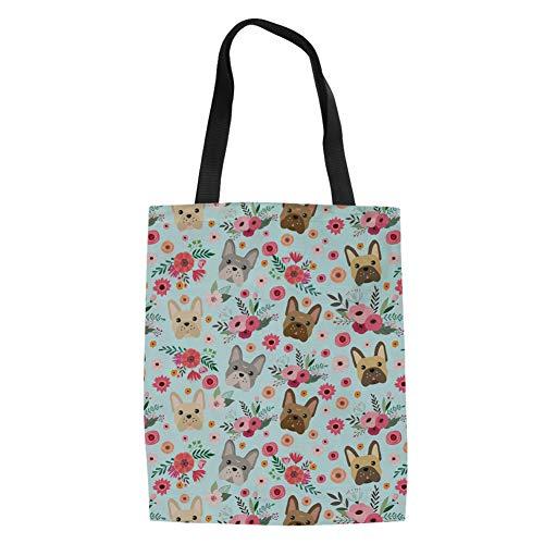 Laptop Tote Bag For Women Canvas Reusable Womens Shopping Shoulder Bags Book Bags Cute French Bulldog Dog Print Handbags For Women