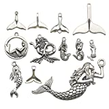 iloveDIYbeads 48pcs Mixed Antique Silver Ocean Sealife Mermaid Charms Pendants for Bracelet Necklace Jewelry Making Findings (M134)
