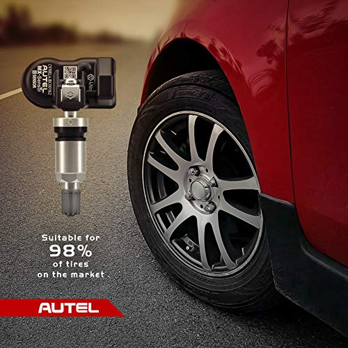Autel MX-Sensor Dual Frequency (315MHz + 433MHz) Screw-in OE-Level Universal Programmable TPMS Sensors for Tire Pressure (Screw-In Metal Valves Pack of 4)