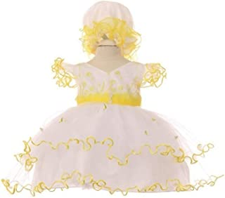 53869a828 Baby Girls Yellow Organza Embroidered Tulle Bonnet Flower Girl Dress 3-24M