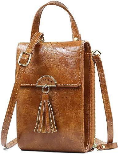 NoChoX Handtasche Damen Umhängetasche Handytasche Zum Umhängen Geldbörse Portemonnaie mit Vielen Fächern Kartenfach - Verstellbare Schultergurte (Braun)