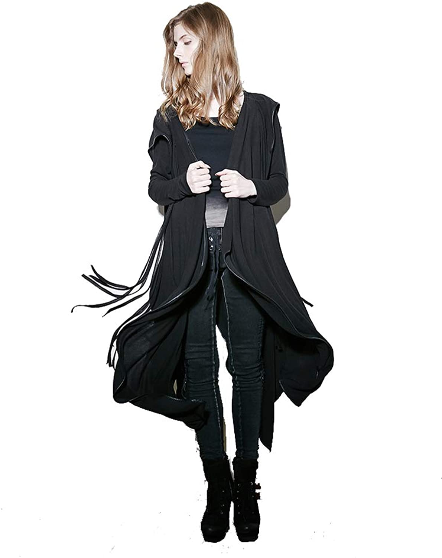 Punk Rave Women Black Irregular Gothic Hooded Trench Coat