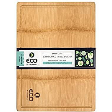 Extra Large Single Piece Surface Bamboo Wood Cutting and Chopping Board 18x13  with Drip Groove by Eco Kitchenware