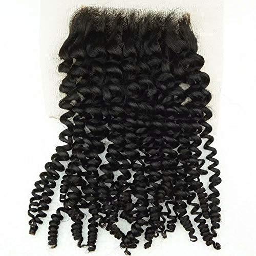 Fermeture de cheveux humains libres/maliens vierges malaisiens 4x4 Kinky Jerry extension de l'attachement de cheveux bouclés suisse dentelle fermeture supérieure 1 piece 20inch
