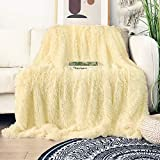 Decorative Extra Soft Faux Fur Blanket Queen Size 78'x 90',Solid Reversible Fuzzy Lightweight Long Hair Shaggy Blanket,Fluffy Cozy Plush Fleece Comfy Microfiber Blanket for Couch Sofa Bed,Light Yellow