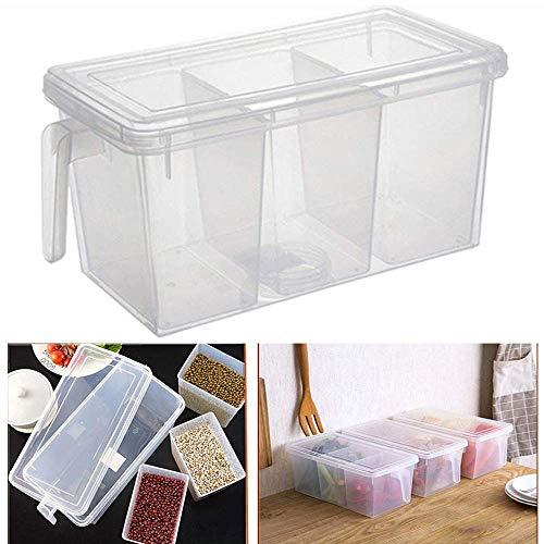 SHARANAM Plastic 3 Part Refrigerator Fruit/Vegetable Basket for Kitchen Dining Table Storage Basket Multipurpose Storage Basket with Lid Fridge Kitchen Food Fruit Storage Box