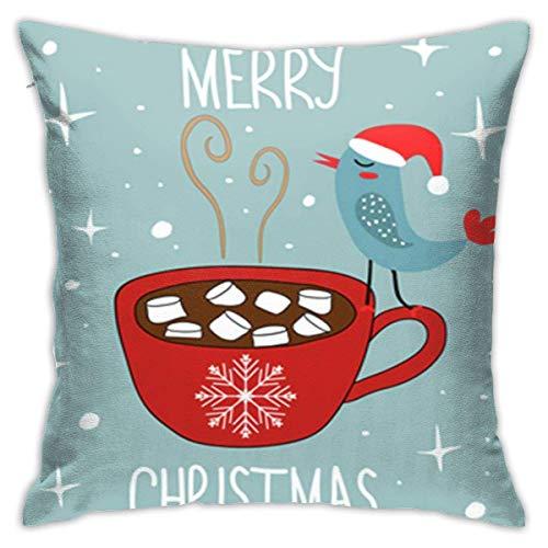 Fundas de Almohada de 45x45cm Fundas de Almohada Doodle Feliz Navidad Chocolate Rojo Caliente Malvaviscos de Cacao Kawaii
