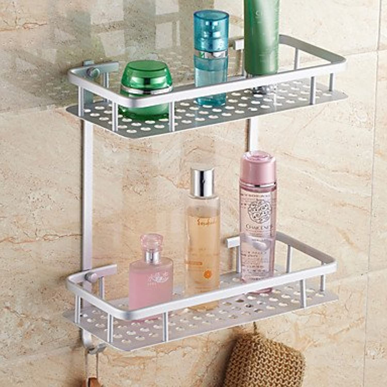 WYMBS Contemporary Double Shelves Aluminum Material Bathroom Shleves