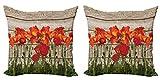 ABAKUHAUS Rústico Set de 2 Fundas para Cojín, Blooming Flores de Amapola, con Estampado en Ambos Lados con Cremallera, 45 cm x 45 cm, Marrón Anaranjado