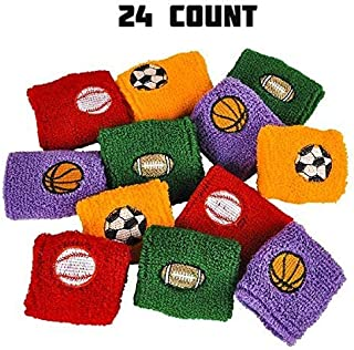 Sports Wrist Sweatbands Assortment - 24 Pieces of Athletic Cotton Wristbands - Perfect for Fitness, Novelty Toys Collection, Fashion Accessories, Party Supplies