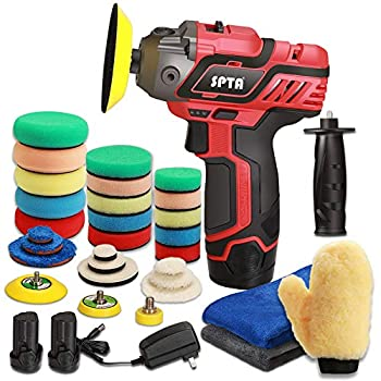 SPTA 12V Cordless Car Polisher Tool Sets Cordless Drill Variable Speed Polisher and Buffer,1500mAh Li-ion Battery with Fast Charger and Polishing Pads for Car Detailing and Paint Polishing