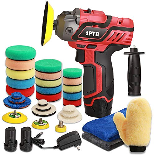 SPTA 12V Cordless Car Polisher Tool Sets, Cordless Drill Variable Speed Polisher and Buffer,1500mAh Li-ion Battery with Fast Charger and Polishing Pads for Car Detailing and Paint Polishing