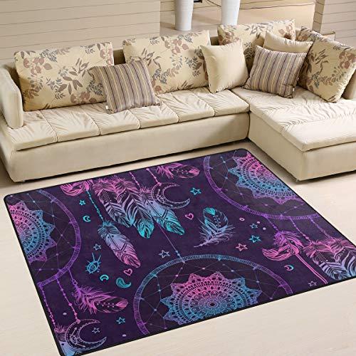 Tenboya Tapis attrape-rêves avec plumes et lune de style tribal 120 cm x 160 cm Tapis de sol antidérapant pour salon chambre à coucher