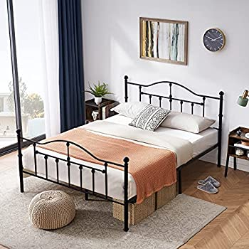 VECELO Full Size Bed Frame Metal Platform Mattress Foundation/Box Spring Replacement,with Headboard & Footboard/Easy Assemble,Black
