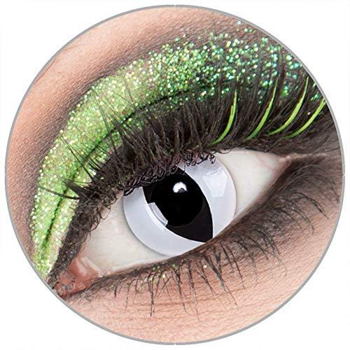 Farbige weiße 'Viper' Kontaktlinsen mit Stärke -3,50 1 Paar Crazy Fun Kontaktlinsen mit Behälter zu Fasching Karneval Halloween - Topqualität von 'Giftauge'