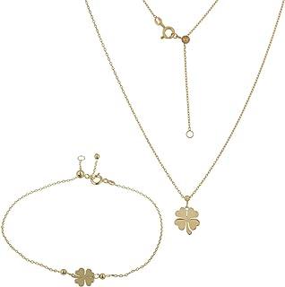 Gioiello Italiano - Parure Portafortuna in oro giallo 14kt, collana e bracciale, lunghezze regolabili, per donna e ragazza