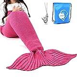 LAGHCAT Mermaid Tail Blanket Crochet Mermaid Blanket for Adult, Soft All Seasons Snuggle Mermaid Sleeping Bag Blankets, Classic Pattern, (71'x35.5', Rose Red )